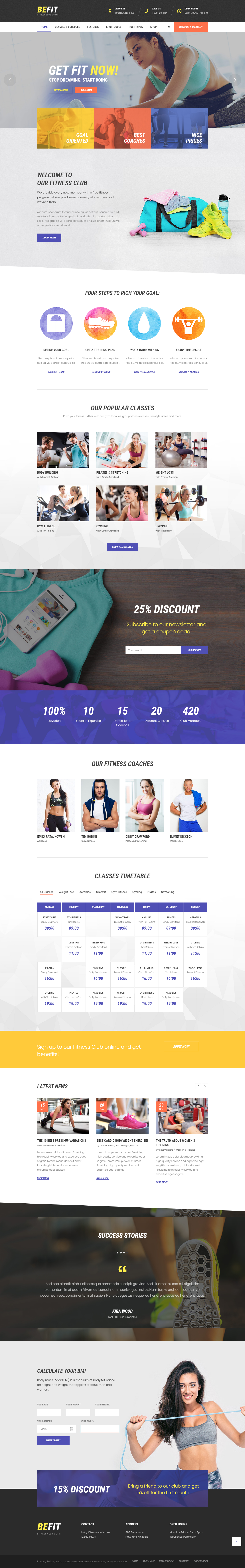 Be Fit - Best Premium Fitness WordPress Theme
