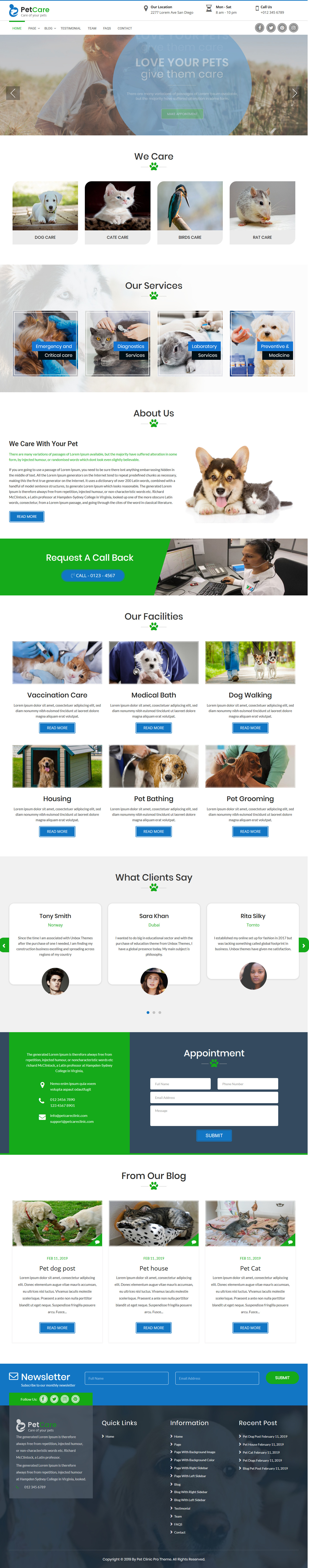 Pet Care Clinic - Best Free Animal and Pet WordPress Theme