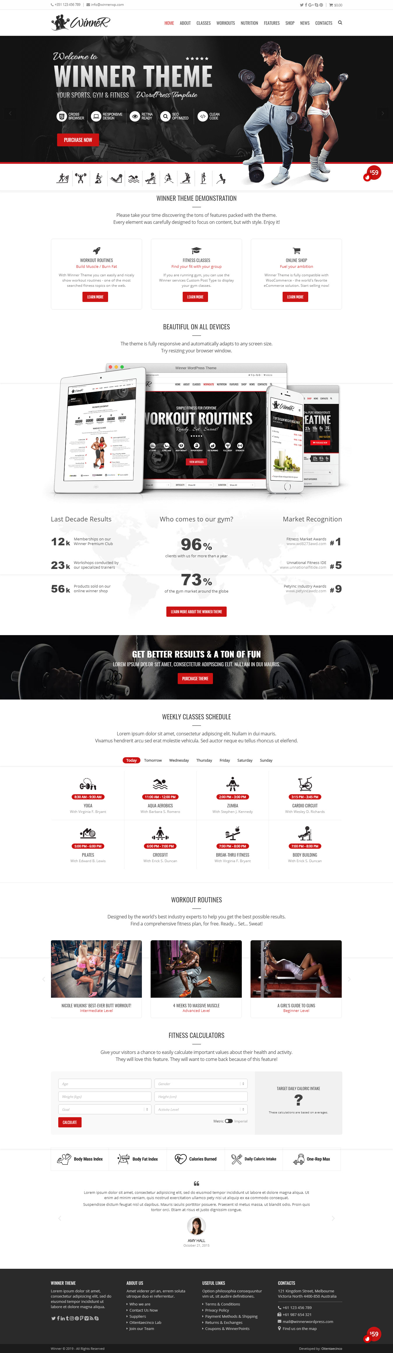 Winner - Best Premium Fitness WordPress Theme