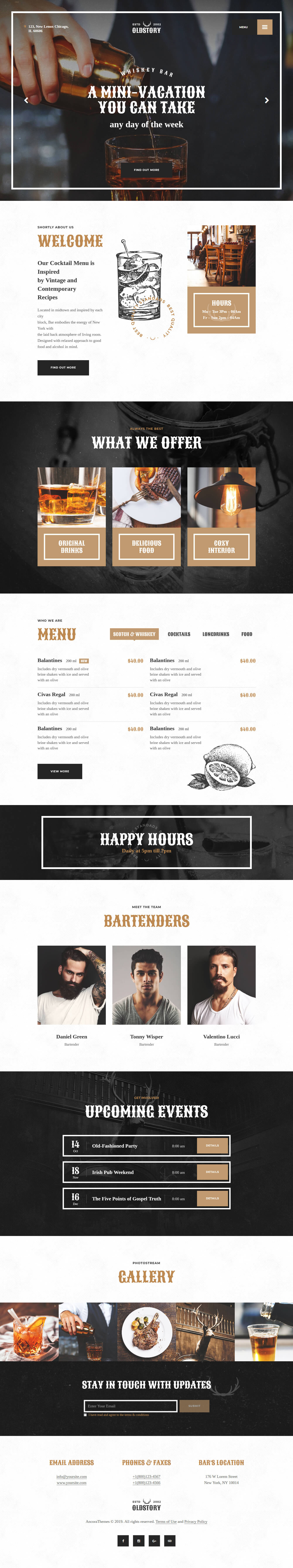 Old Story - Best Free Bar and Pub WordPress Theme