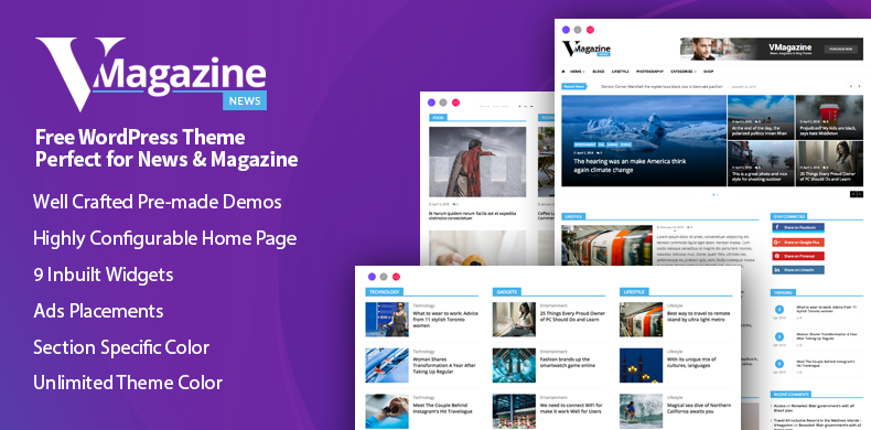 Free News and Magazine WordPress Theme – VMagazine News