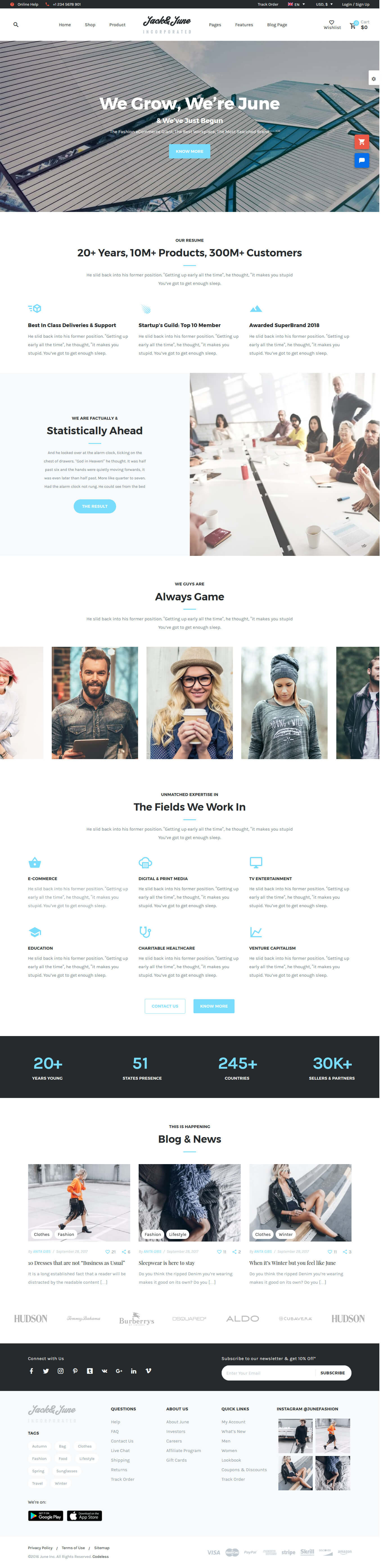 June - Best Premium Drag and Drop WordPress Theme
