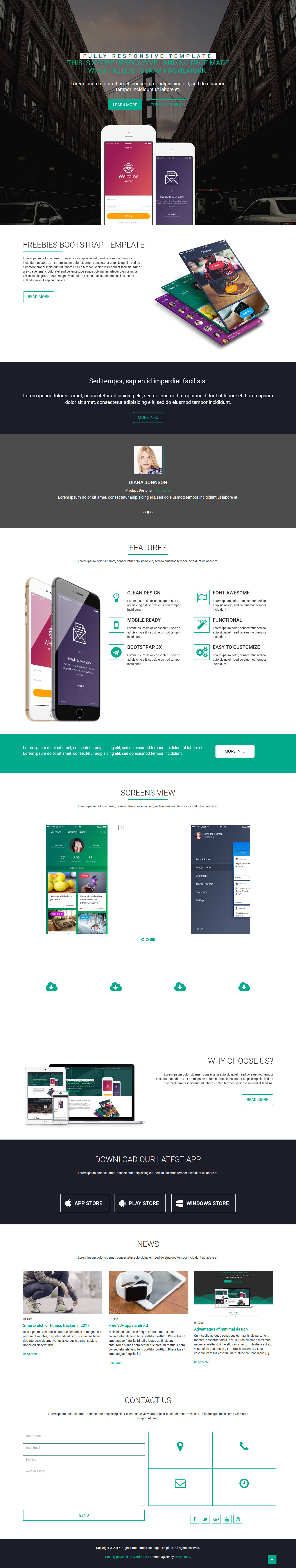 Oginer - Best Free Mobile App WordPress Theme