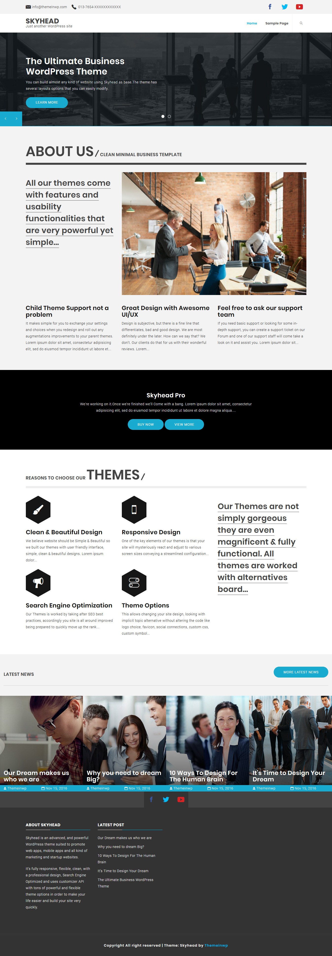 Skyhead - Best Free Mobile App WordPress Theme