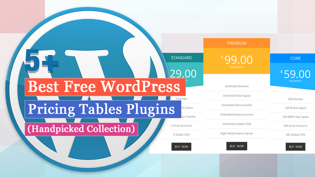 5+Best Free WordPress Pricing Tables Plugins