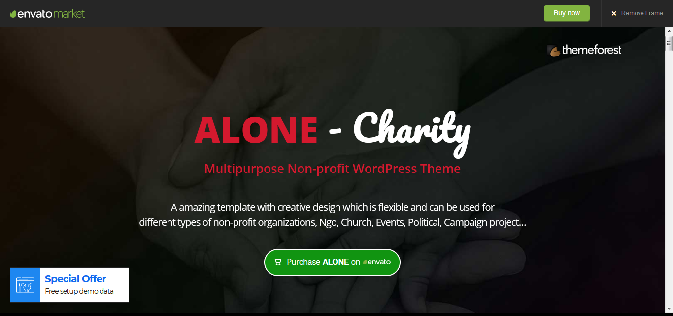 Alone – Nonprofit Agency/Organization WordPress Theme