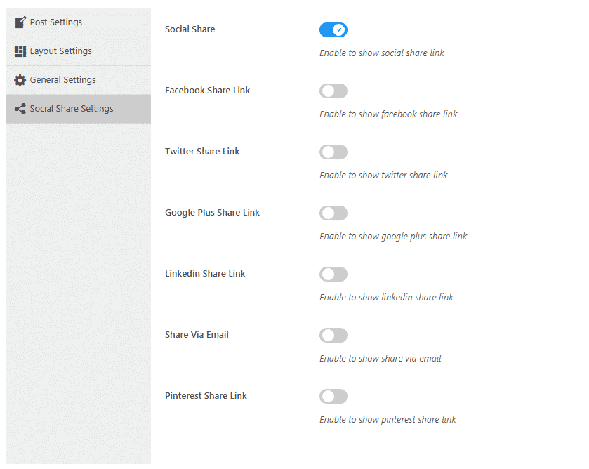 WP Blog Manager Lite: Social Share Settings