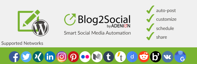 Blog2Social - Best Free WordPress Social Auto Post Plugins