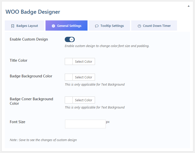 WOO Badge Designer General Settings