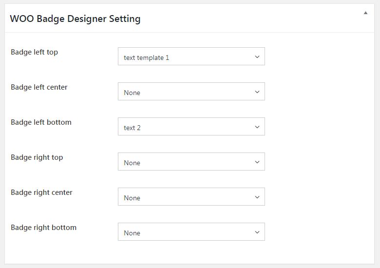 WOO Badge Designer Settings