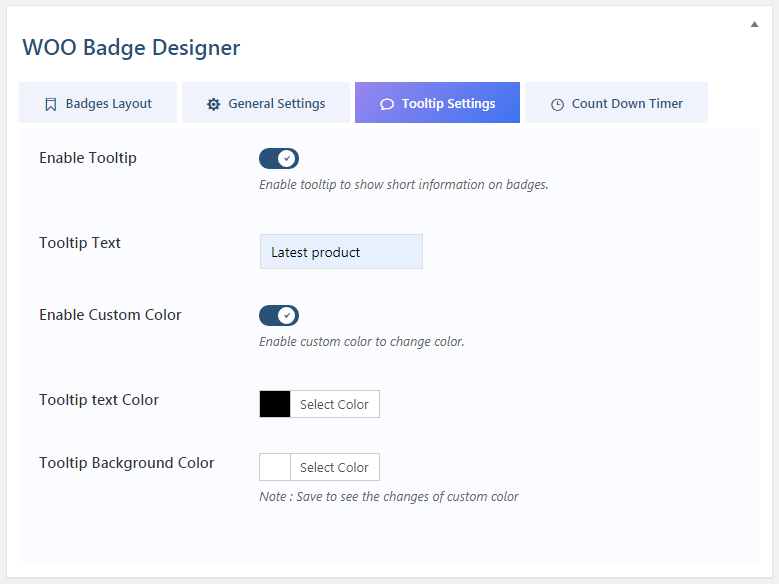 Woo Badge Designer: Tooltip Settings