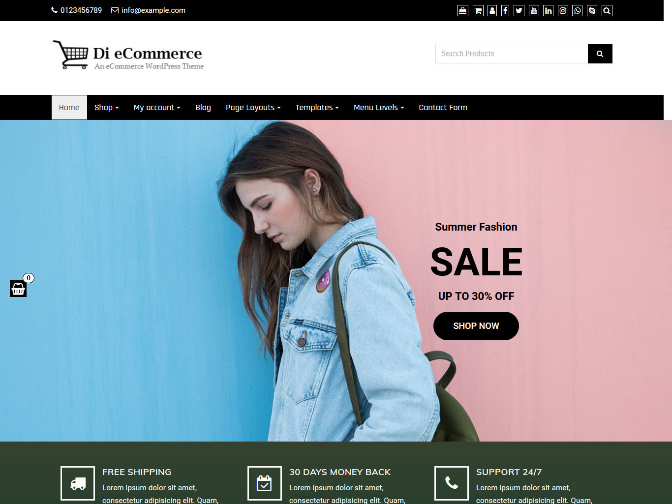 Di eCommerce - Best Free WordPress WooCommerce Theme