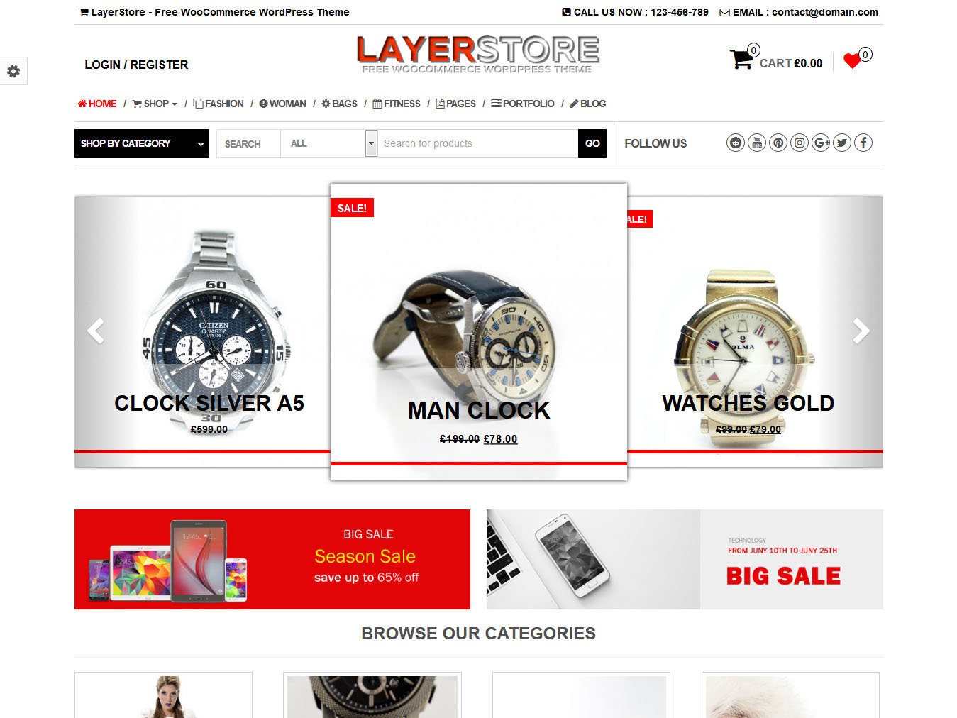 LayerStore - Best Free WordPress WooCommerce Theme