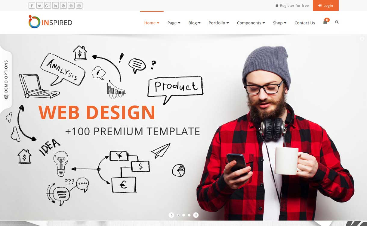 Inspired - Best WordPress Bootstrap Theme