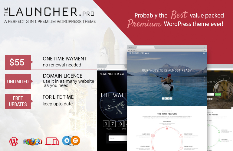 Premium WordPress MultiPurpose (landing page / coming soon) Theme – The Launcher Pro