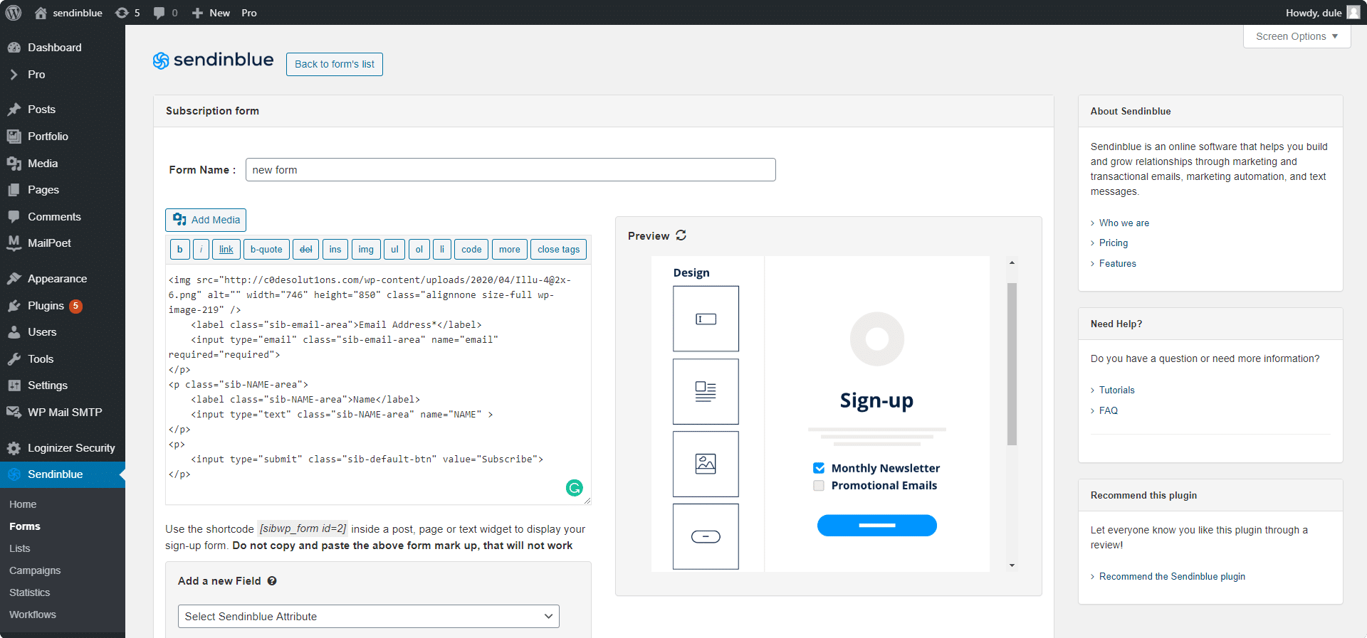 Sendinblue Form Builder WordPress
