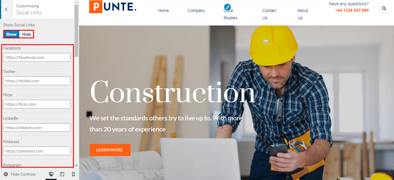 Make a Construction Company Website Using Punte Theme.