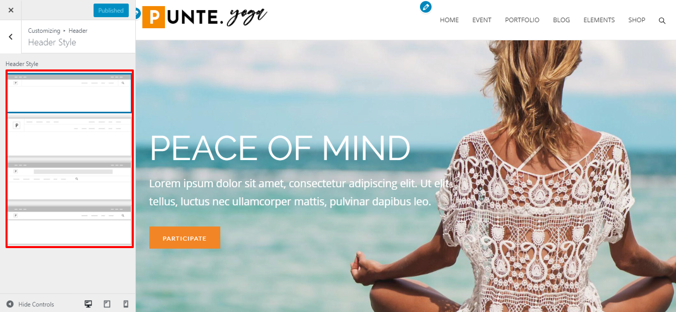 Make a Yoga Instructor Website Using Punte WordPress Theme.