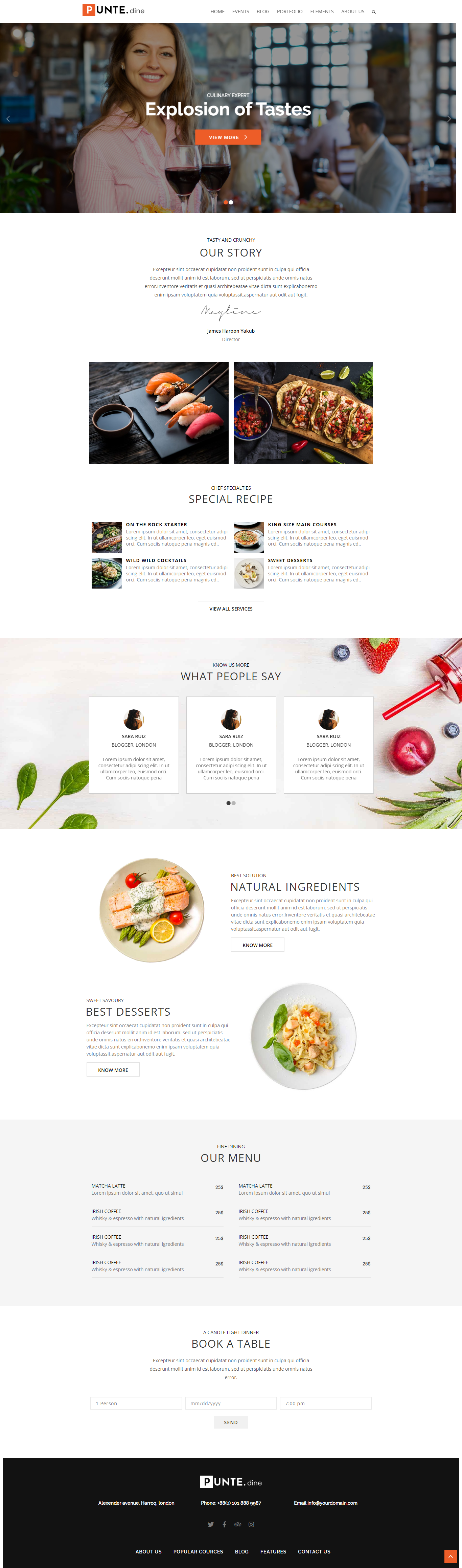 Punte Restaurant Website Theme