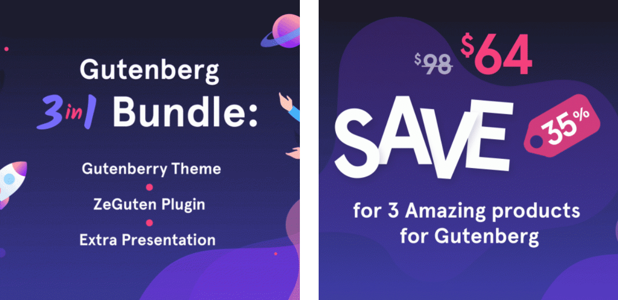 1 Gutenberg 3-in-1 Bundle Gutenberry Theme, ZeGuten Plugin and Extra Presentation