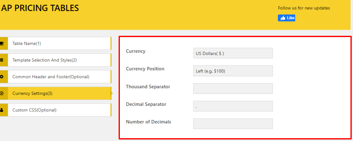 Use AP Pricing Tables on your Website.